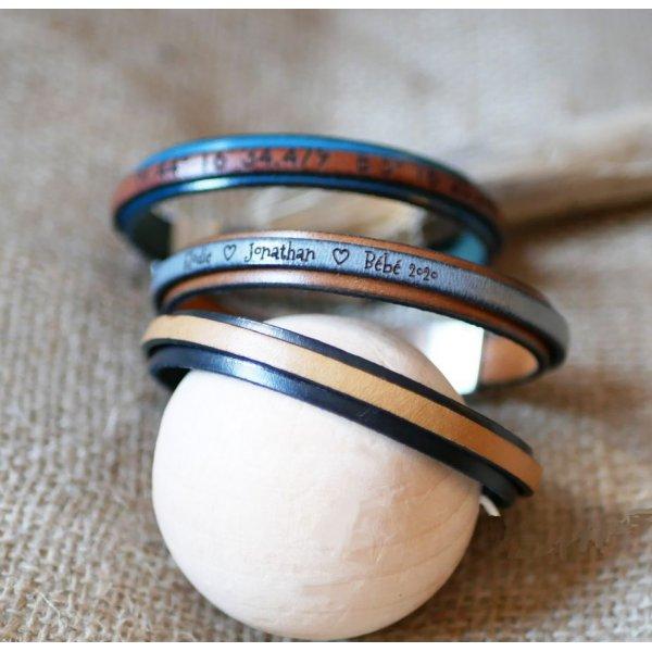 Bracelet cuir bicolore personnalisable couleur et gravure