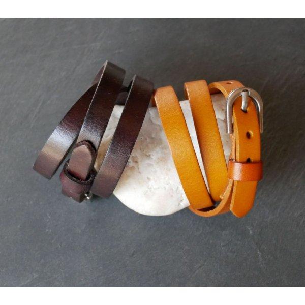 Bracelet cuir Homme triple tour Marron foncé à personnaliser