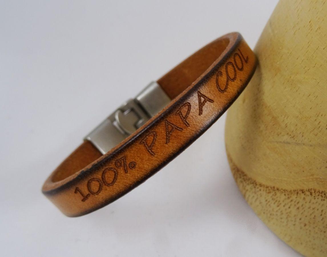 Bracelet cuir Camel Homme gravé cadeau personnalisé