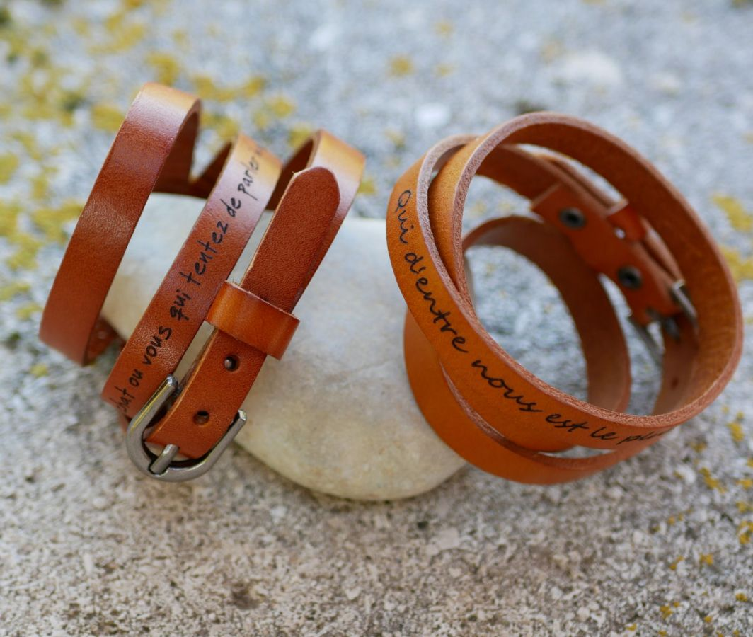 Bracelet cuir Camel triple tour à personnaliser