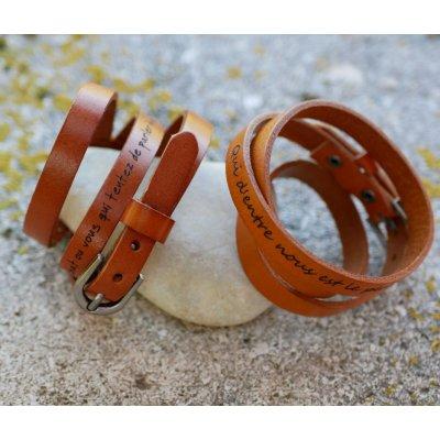 Bracelet cuir Camel Homme triple tour à personnaliser