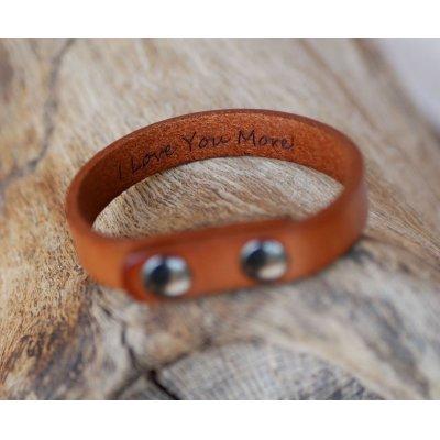 Bracelet cuir camel Mixte à graver cadeau personnalisé