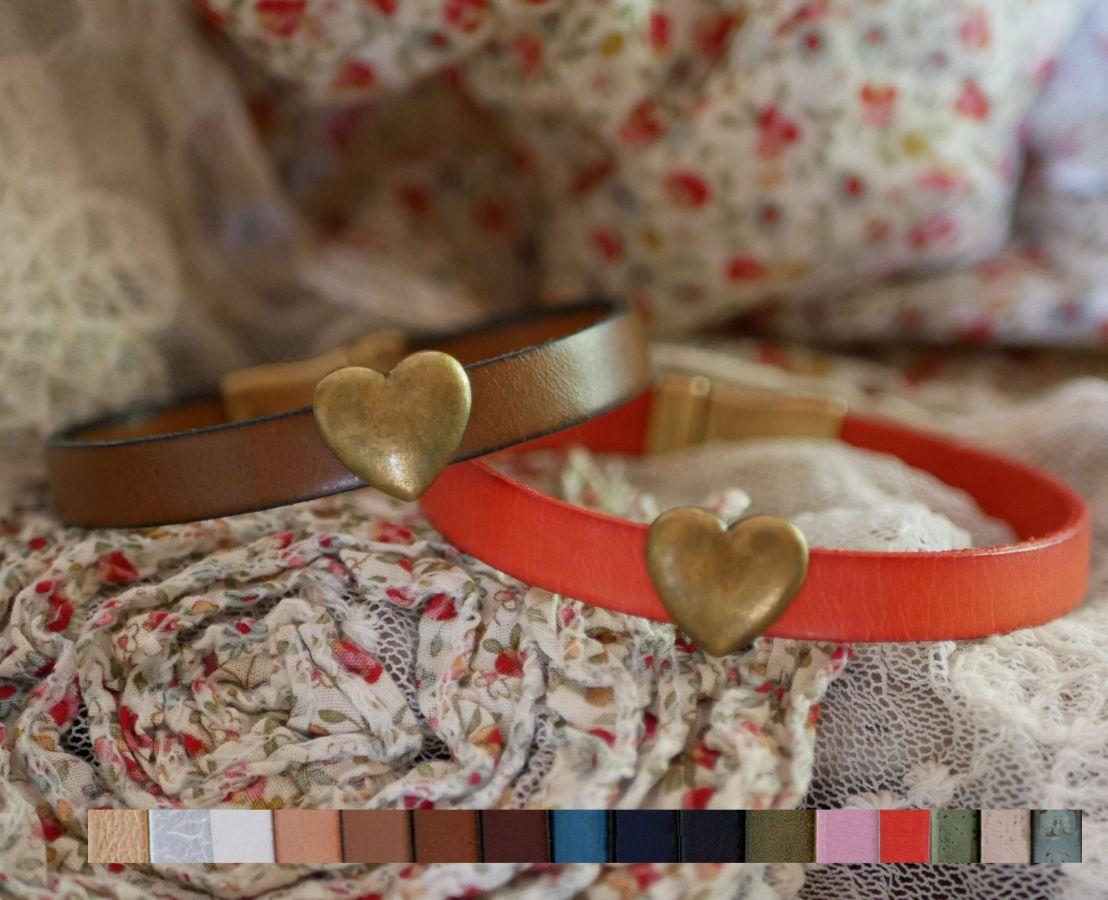Bracelet cuir & coeur bronze vielli personnalisable