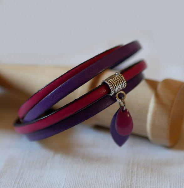Bracelet cuir double en duo avec breloques sequins Fuchsia et violet
