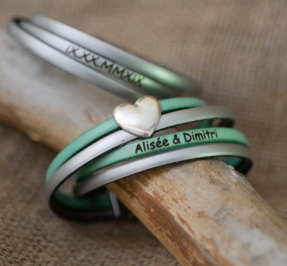 Bracelet cuir double en duo avec coeur argenté