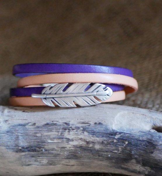Bracelet cuir double en duo décoré d'une plume argentée