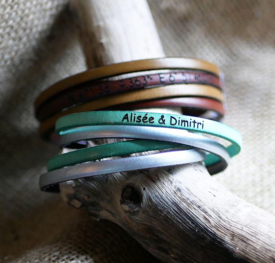 Bracelet cuir double en duo à personnaliser par gravure