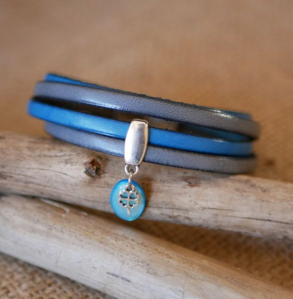 Bracelet cuir double en duo avec breloques sequin Bleu
