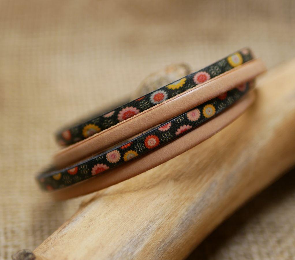 Bracelet cuir double en duo avec cuir imprimé et cuir uni au choix