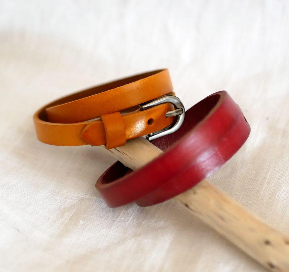 Bracelet en cuir double tour camel Gravé mixte