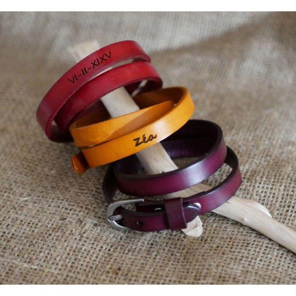 Bracelet en cuir double tour Gravé mixte