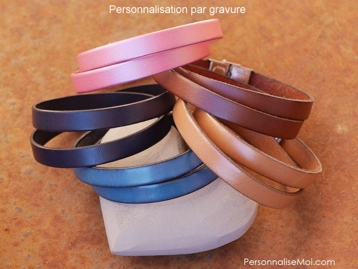 Bracelet cuir double tours mixte fermoir ajustable