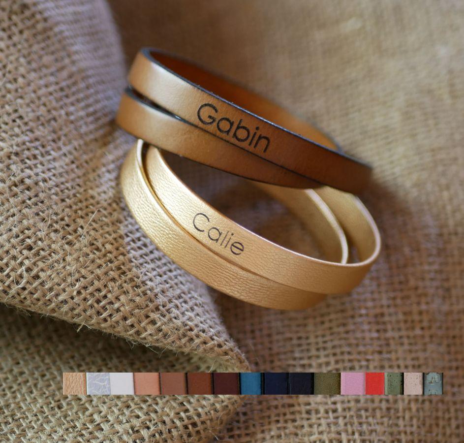 Bracelet cuir double tours homme ou femme personnalisable avec fermoir ajustable