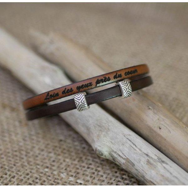 Bracelet cuir en duo passants ethniques personnalisable mixte femme ou homme