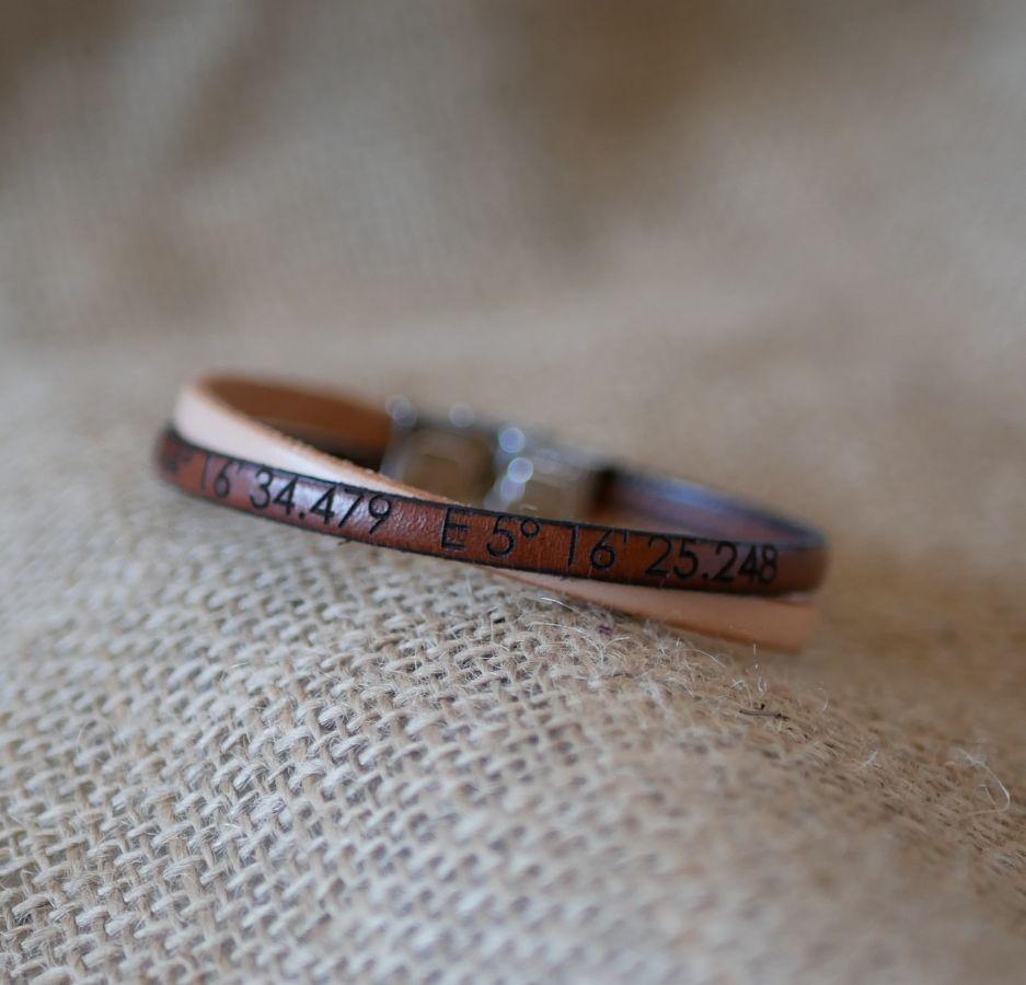 Bracelet cuir en duo Twist personnalisable mixte femme ou homme