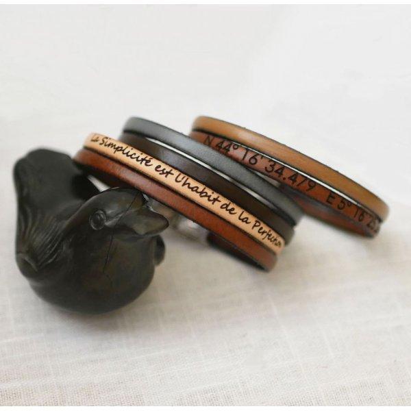 Bracelet cuir en duo personnalisable mixte femme ou homme