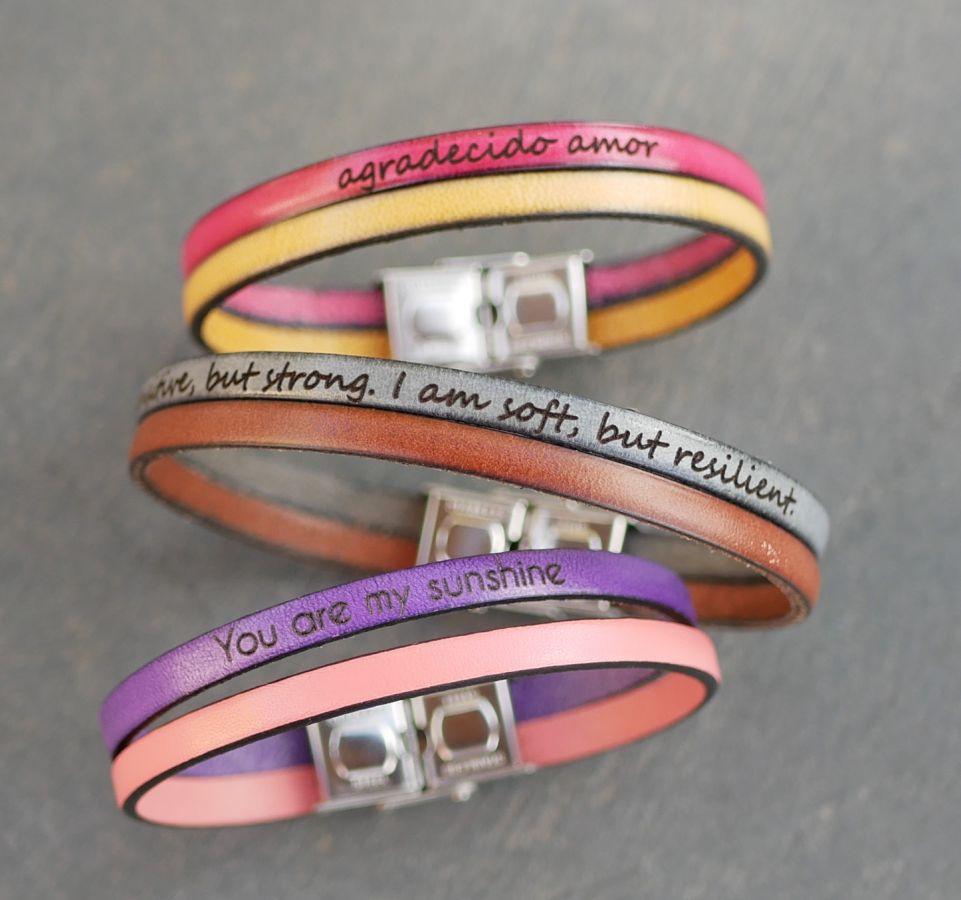 Bracelet cuir double couleur personnalisable mixte femme ou homme