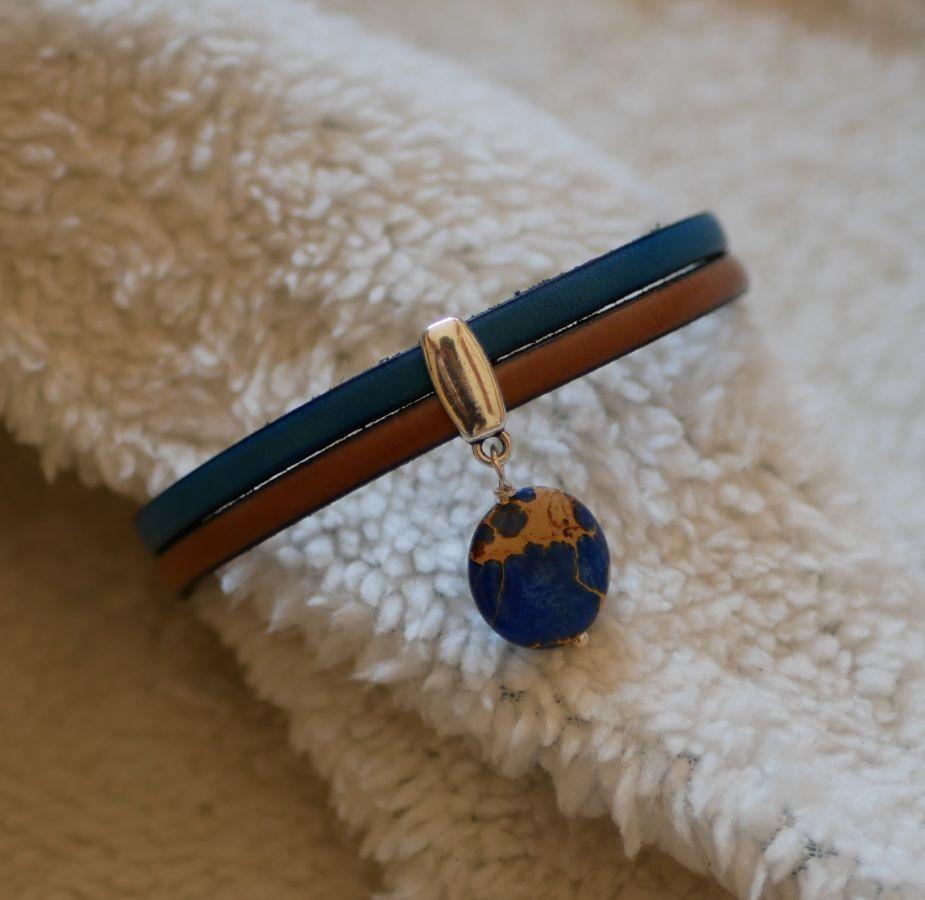 Bracelet cuir en duo avec pierre de jaspe bleu