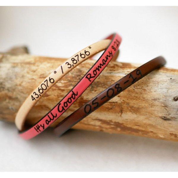 Bracelet cuir fin personnalisable par gravure femme ou homme