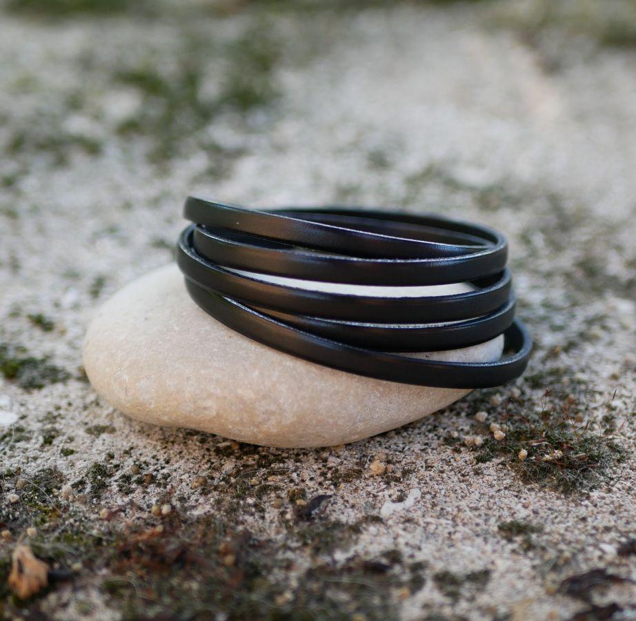 Bracelet cuir fin en 5 tours pour homme ou femme personnalisé