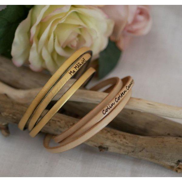 Bracelet femme en cuir fin 3 tours personnalisé
