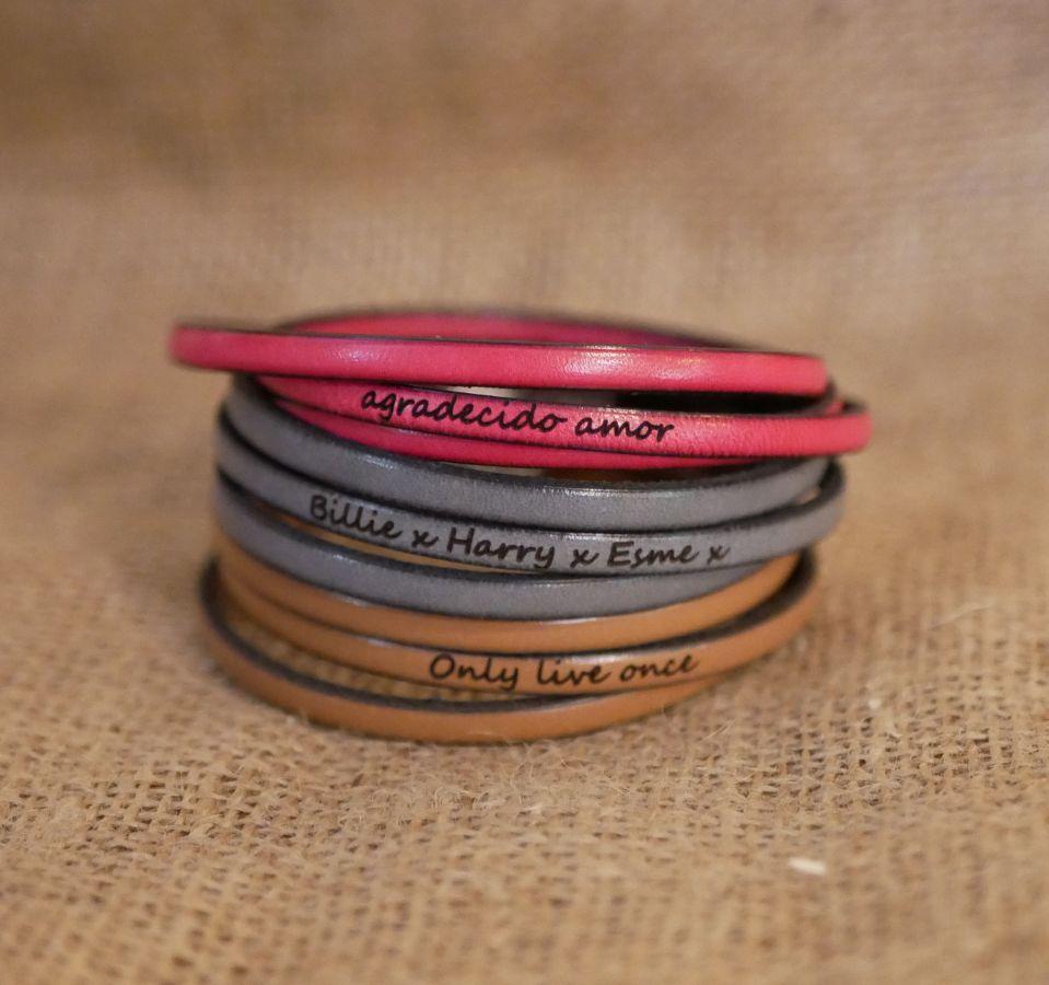 Bracelet cuir fin en 3 tours pour homme ou femme à personnaliser