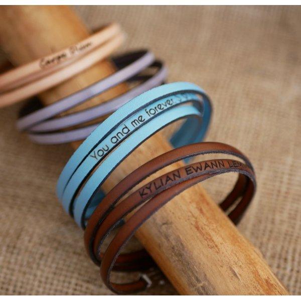 Bracelet cuir fin en 3 tours pour homme ou femme personnalisé