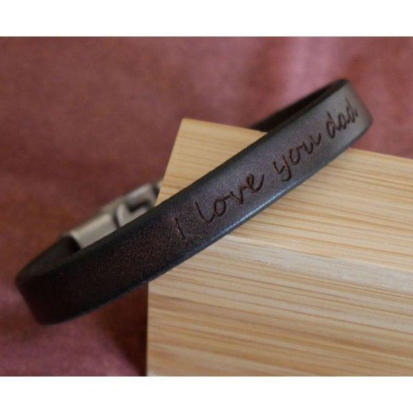 Bracelet cuir Homme à message à personnaliser marron foncé