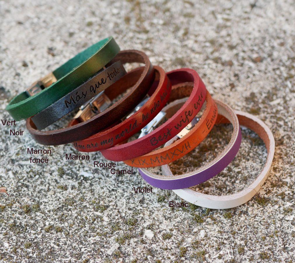 Bracelet cuir mixte 9mm fermoir ajustable