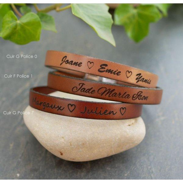 Bracelet cuir mixte gravé et sur mesure