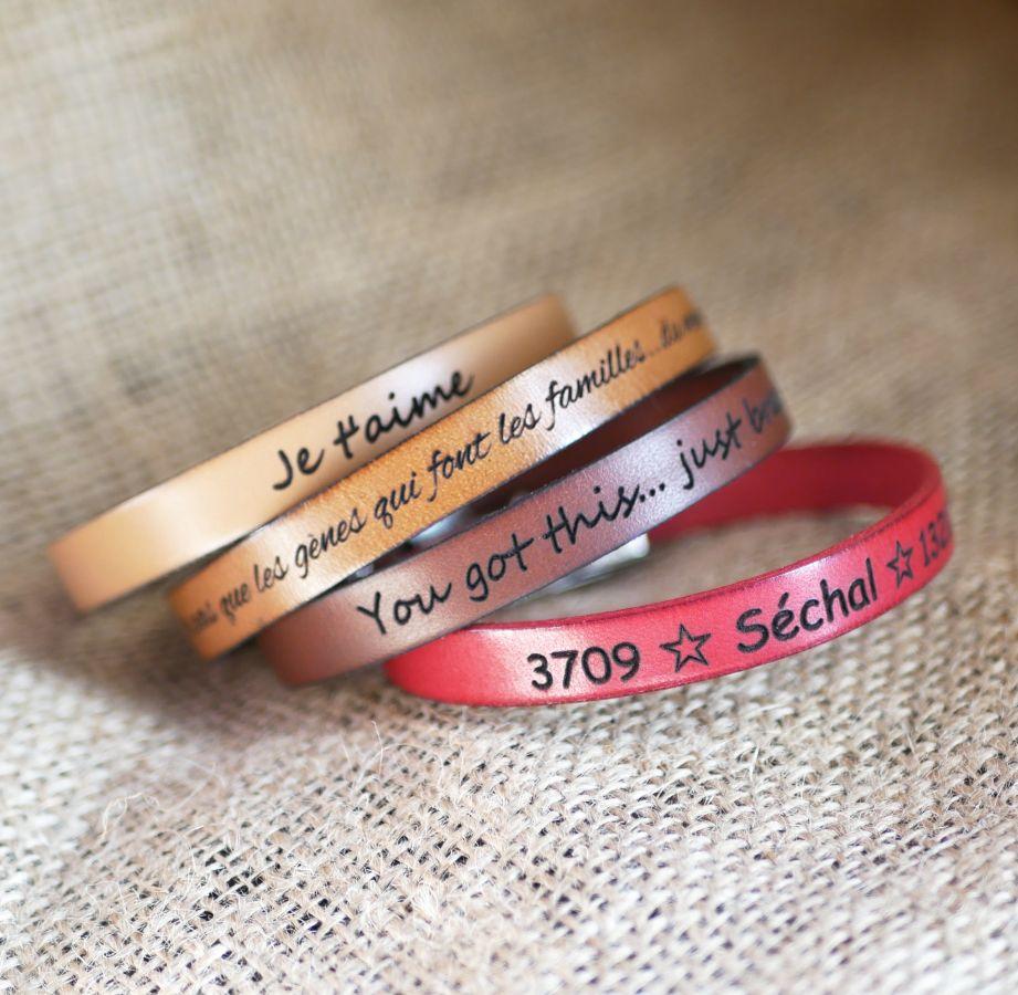 Bracelet cuir mixte gravé prénoms ou coordonnées GPS couleur au choix