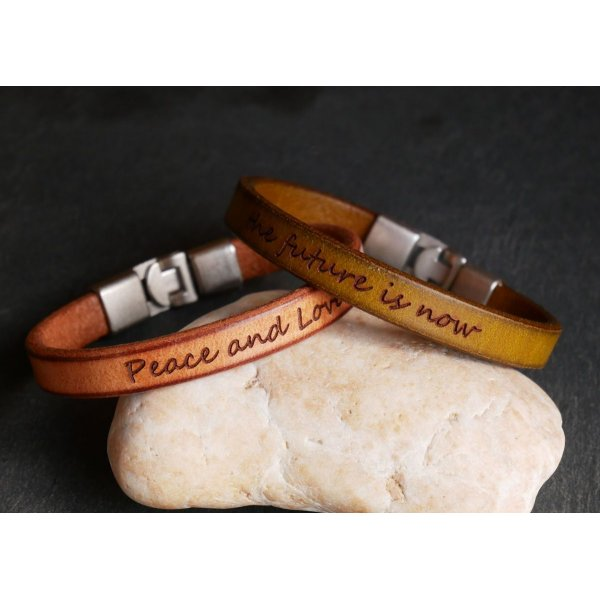 Bracelet cuir moutarde Homme à message à personnaliser