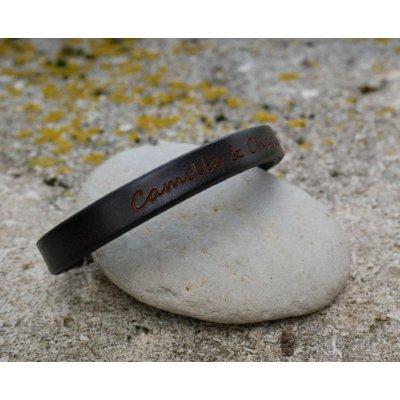 Bracelet cuir Noir Homme à message à personnaliser