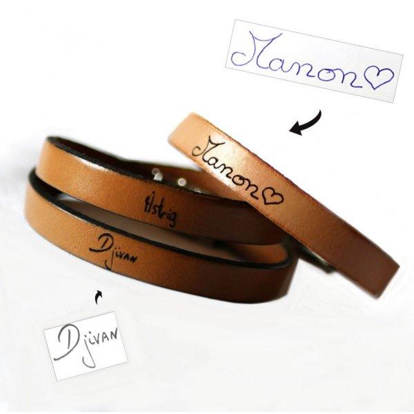 Bracelet cuir personnalisable par écriture manuscrite en simple, double ou triple tour