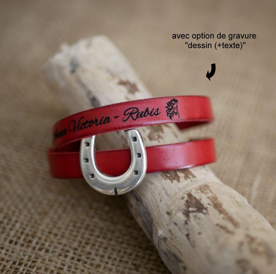 Bracelet cuir personnalisable décor Fer à cheval simple ou double tour