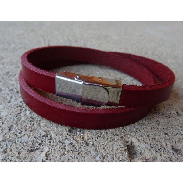 Bracelet cuir 2 tours mixte personnalisables par gravure avec fermoir ajustable