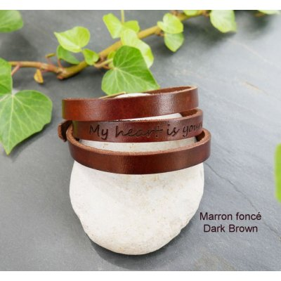 Bracelet cuir au choix 3 tours gravé à personnaliser