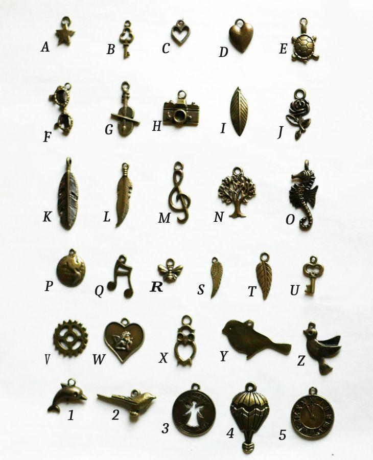Bracelet cuir à breloques personnalisable bronze vielli