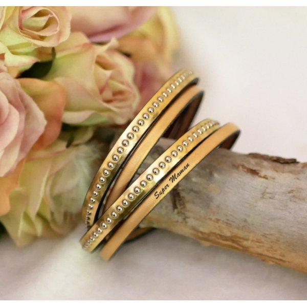 Bracelet cuir double gravé doré aux billes argentées personnalisable