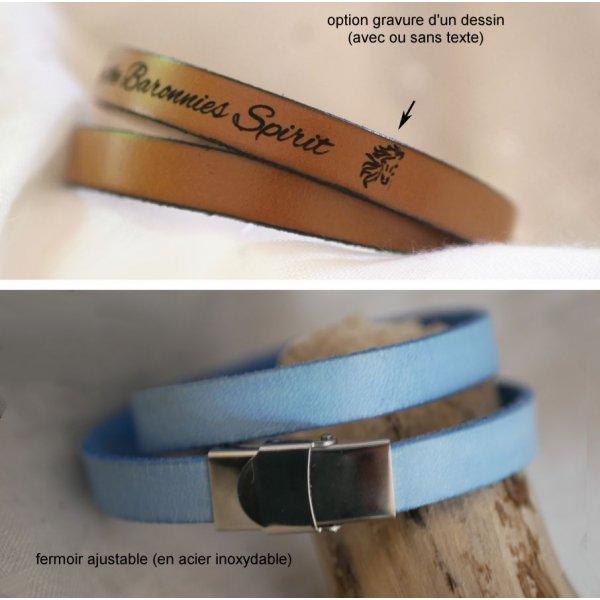 Bracelet double cuir décor coeur argenté, gravure possible de vos mots