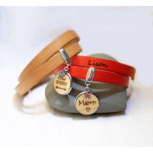Bracelet double cuir personnalisé avec Cabochon en bois à graver
