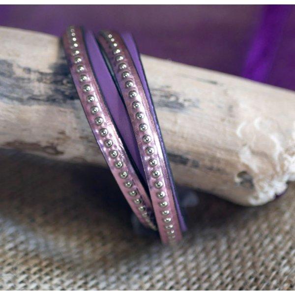 Bracelet cuir double personnalisé par gravure rose métalisé