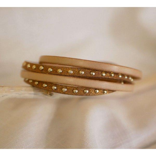 Bracelet double tour cuir et suédine personnalisable pour femme