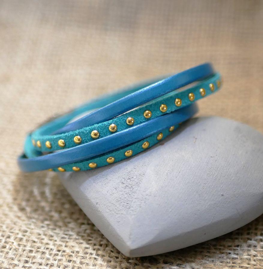 Bracelet double tour cuir et suédine turqoise personnalisable pour femme