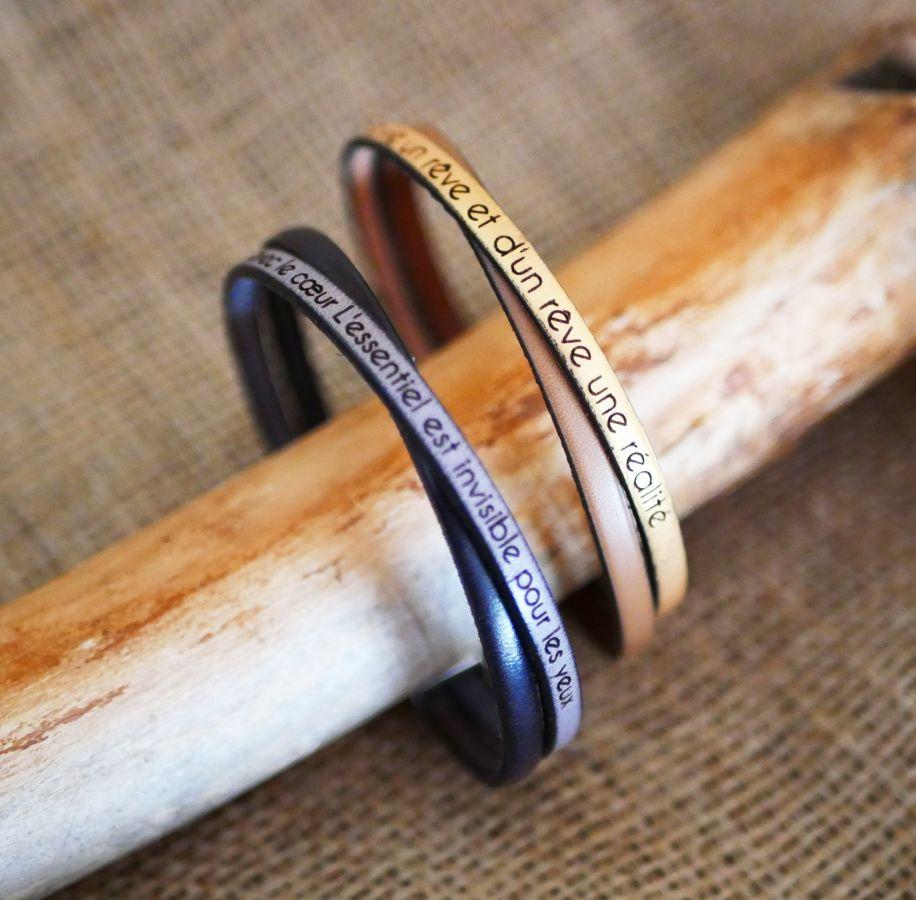 Bracelet duo de cuir croisé Twist personnalisable mixte femme ou homme