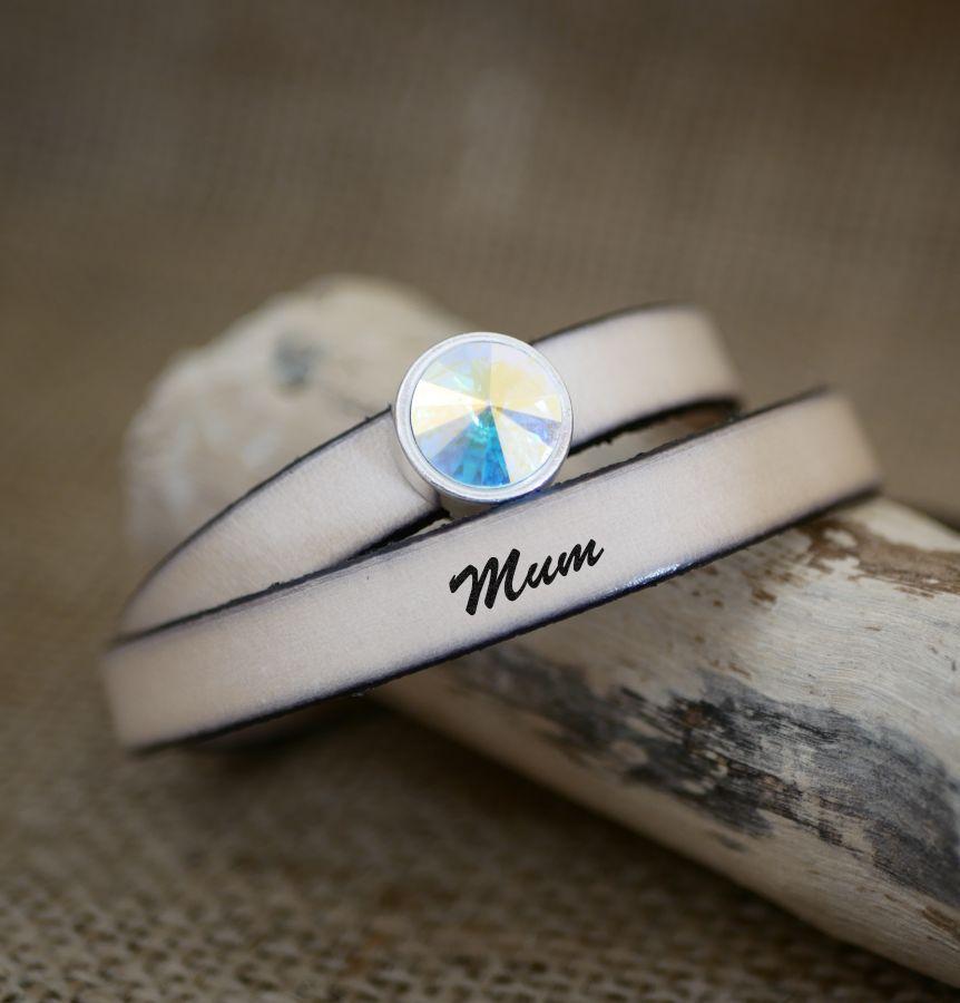 Bracelet femme cuir double tours à personnaliser décoré d'un cabochon cristal Swarovski