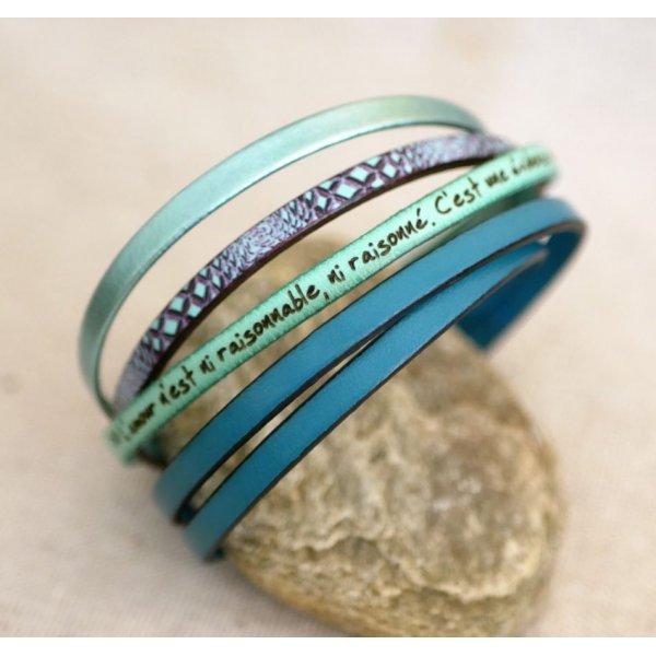 Bracelet femme en cuir fin imprimé serpent tons bleus