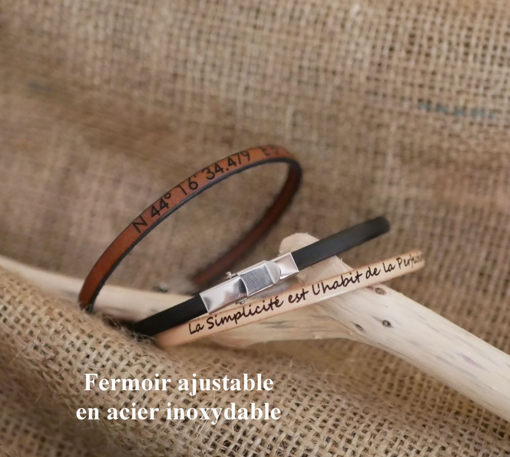 Bracelet femme en cuir fin imprimé Impressioniste