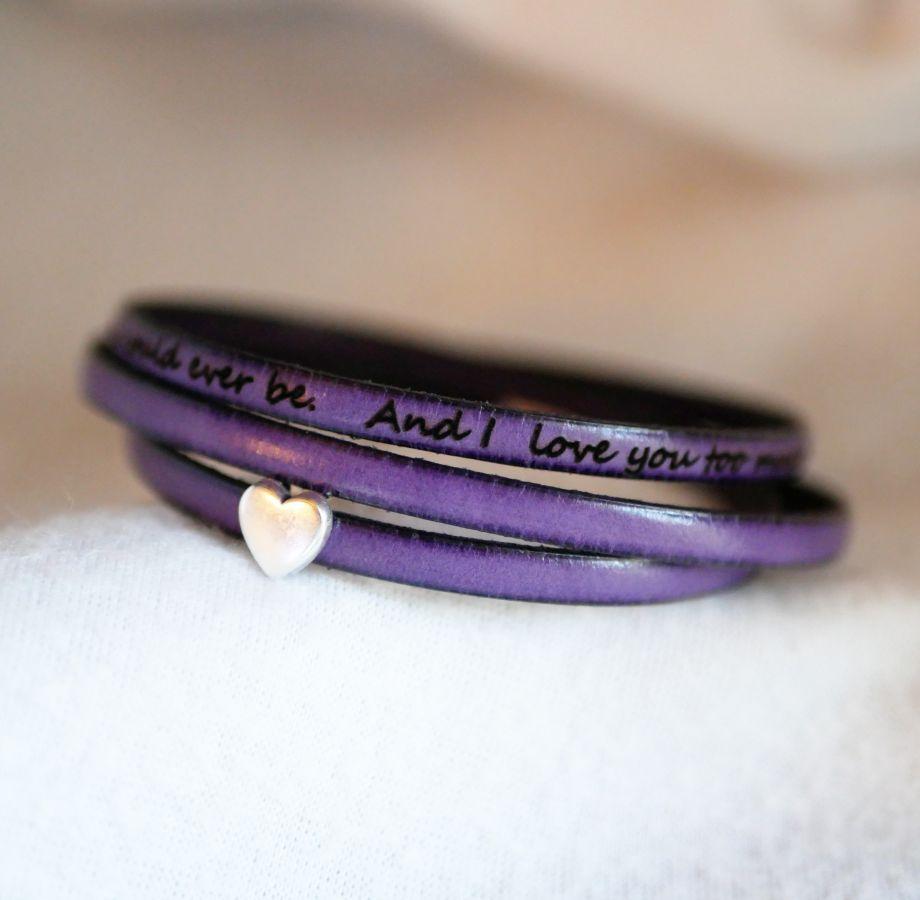 Bracelet femme cuir personnalisable multi tours décor coeur argenté