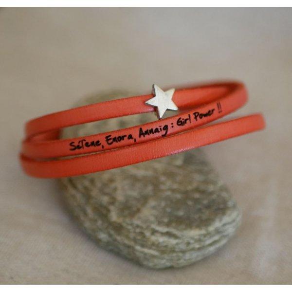 Bracelet femme cuir multitours personnalisable décor étoile argenté
